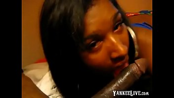 black teenager model inhales thick dark-hued rod during.