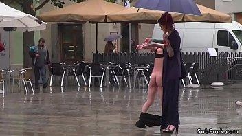 ash-blonde spinner abased in public