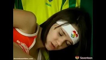 soccer admirer teenage penetrates herself in.
