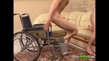 handicapped boy in wheelchair gets meatpipe fellated by.