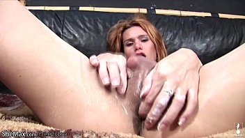 ginger-haired transsexual gives her shedick rock hard tugjob.