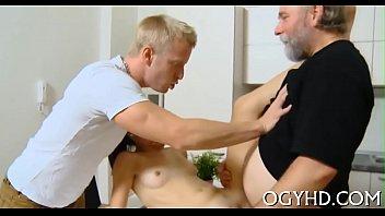 elderly dude drills youthful humid crack