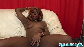 highheeled black shemale masturbating off her ginormous ebony shaft