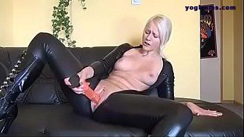 german silver-blonde in spandex drills her.