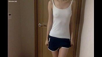 bony korean teenie with steaming pants