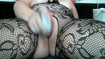 frolicking with my snatch in a crotchless lace bodystocking