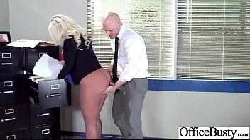 bang-out on webcam with yam-sized-chested kinky office cockslut.