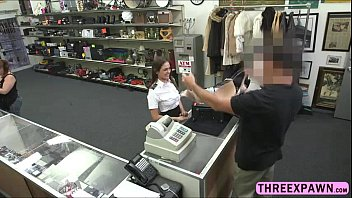 warm stewardess takes shaft over the counter and.