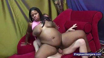 knocked up ebony nymph getting milky.