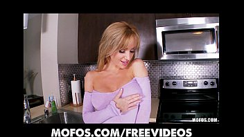 sexy ash-blonde wifey disrobes in the kitchen and.