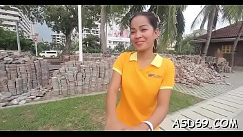 thai gal grinds on a jizz-pump and gets.