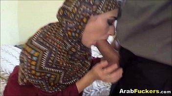 skimpy arab chick desperate for money deep throats.