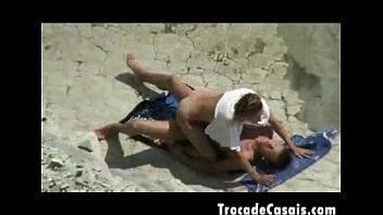 duo make lovemaking on a naturism beach -.