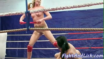 ample-boobed lesbos grappling and pussylicking