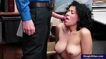 curly hair stunner caught stealing and fucked by.