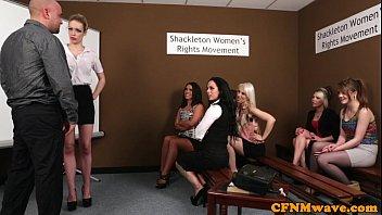 cfnm femdoms abasing jerking stud