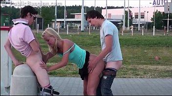 very ultra-cute youthful woman risky public group intercourse.