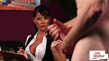 brit cougar hidden cam instructs her marionette to masturbate
