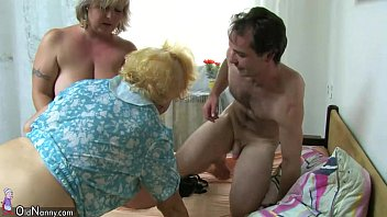 oldnanny plus-size mature and older grannie with boy.