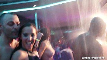 mischievous soiree gals smashing in club.