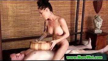 japanese phat-titted masseuse gives nuru gel.