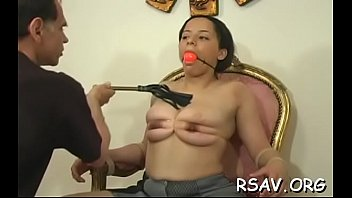 vulnerable juvenile hottie gets totaly strapped up and thonged