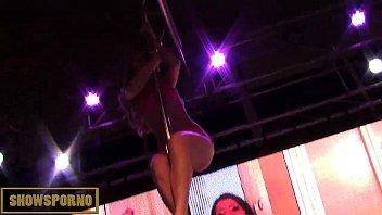 warm silver-blonde disrobe pole dance on.