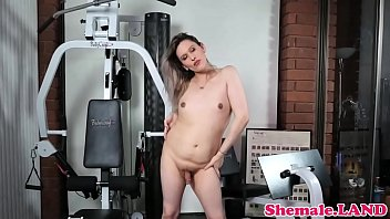 plump transsexual draining off after workout