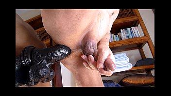 fellow draining backside banging with good-sized ebony faux-cock.