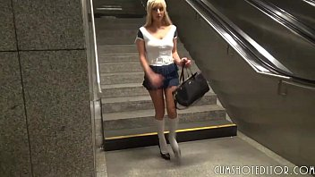 ash-blonde student bi-atch pleasing shaft in public point.