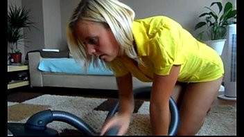 sophie in yellow skirt vacuuming her fuckbox and faux-cock