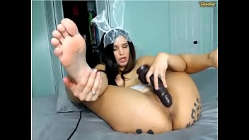 cams4freenet - exotic dark haired drills a huge faux-cock