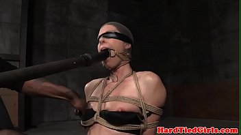 corded cougar victim ball-gagged and toyed by male domination