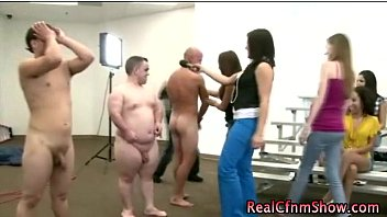 clothed honeys see inexperienced folks get nude in groupsex