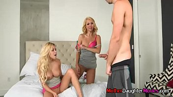 stepmother and stepdaughter seducing youthfull boy during brilliant 3way
