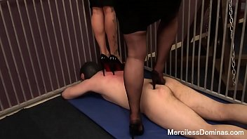 raunchy dual stomping in cell - two pairs.