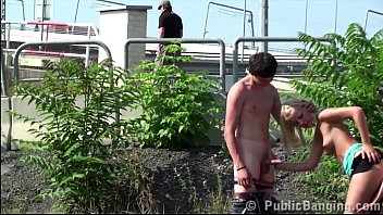 blondie teenager damsel public street gang-poke 3some lovemaking.