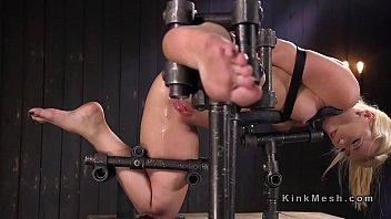 ash-blonde in implement restrict bondage booty-smash.