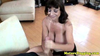 chesty grandma providing tugjob