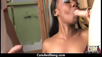 chesty dark-hued fuckslut gang-plumbed and facialed in jizm 27