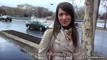 public stiffy deep-throating with czech first-ever-timer teenie for.