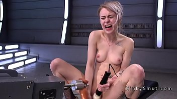 ash-blonde gang-humped by boning machines