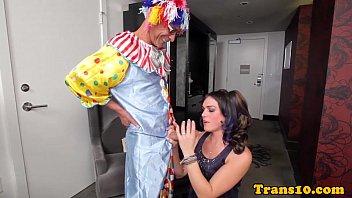 spectacular transgirl nailed by dark-hued clown
