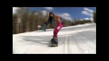 steamy nude damsels snowboarding