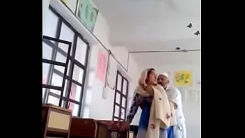 pakistani mature duo poking in classroom