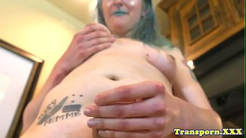 pierced tgirl fapping and draining her.