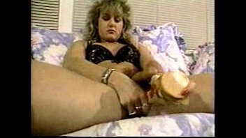 silver-blonde enormous-chested hermaphrodite masturbates off as she ravages.