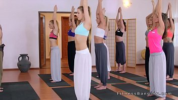 two stunners boinking yoga coach after.