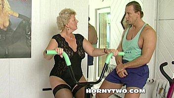 insatiable grandma mega-bitch shamelessly takes gym trainer spear.