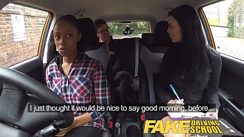 faux driving school giant-boobed ebony woman fails test.